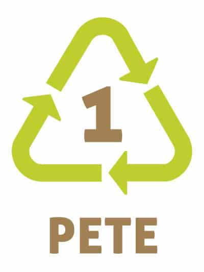 PET ou PETE -Les symboles du recyclage plastique 1 - Polyéthylène téréphtalate