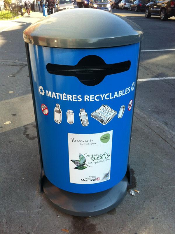 La rue Masson dans le vieux Rosemont dispose dès maintenant de poubelles pour les matières recyclables