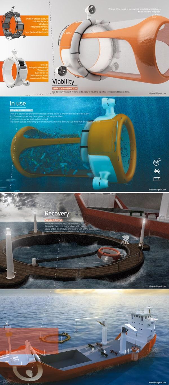 Un drone qui mange les déchets en mer.