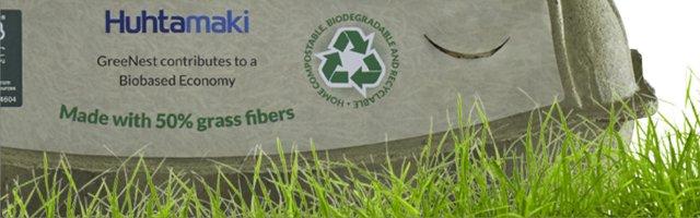 Un emballage à base d'herbe et de papiers recyclés