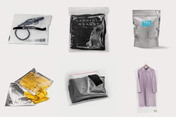 Emballages compostables pour vêtements. A base de cellulose.