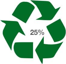 Logo du recyclage avec le pourcentage de matériaux recyclés pour fabriquer le produit sur lequel il est présent.
