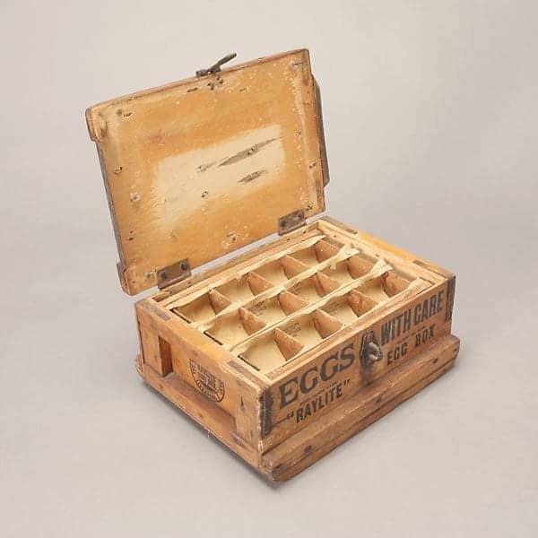 Boîte à œufs réutilisable en bois - Vintage