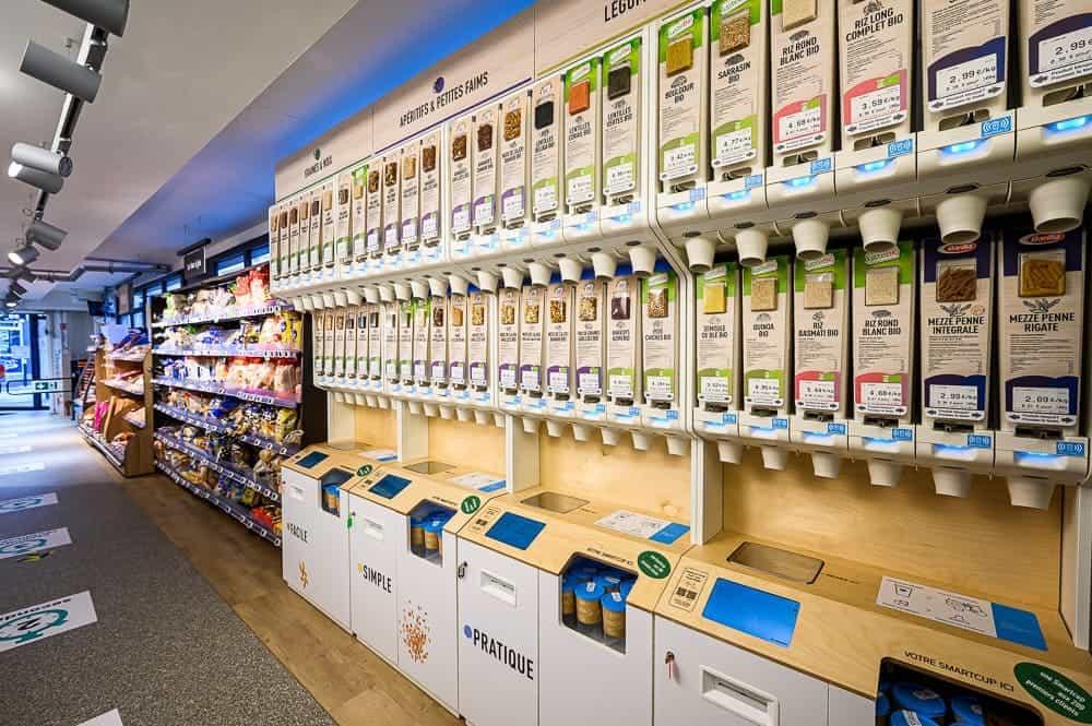 Distributeur pour les produits vrac avec puce connectée.